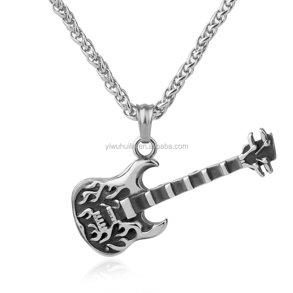 NS 062 Yiwu Huilin Jewelry Guitar Necklace For Women Music Lover Gift fiddle Pendant & Chain Hip Hop Rock necklace