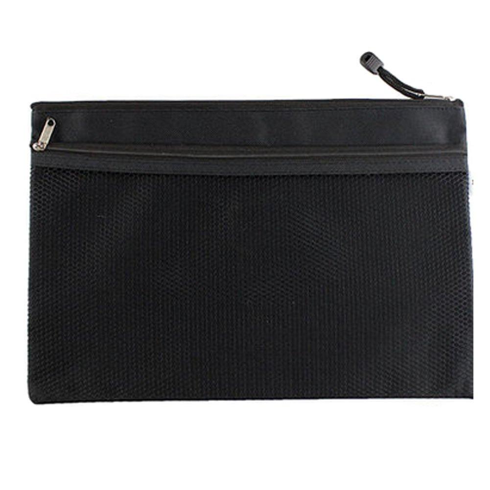 2PCS Canvas Double-deck Document File Stationery Zipper Bag Storage Pouch, Black