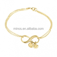 14k Gold Plated Infinity Initial Heart Charms Bracelet
