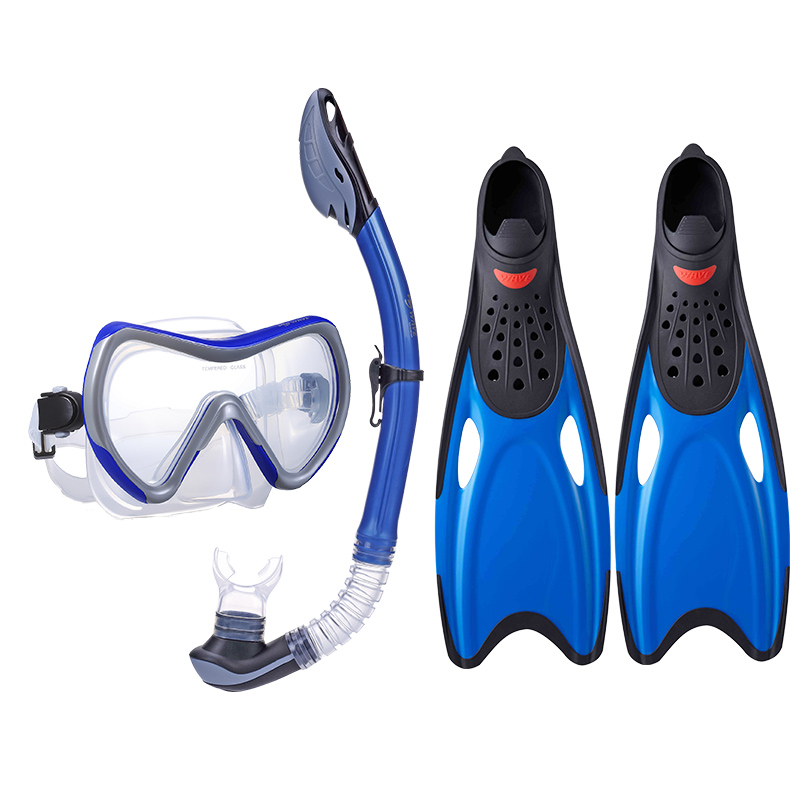 Custom color adult diving snorkeling freediving mask snorkel set anti fog