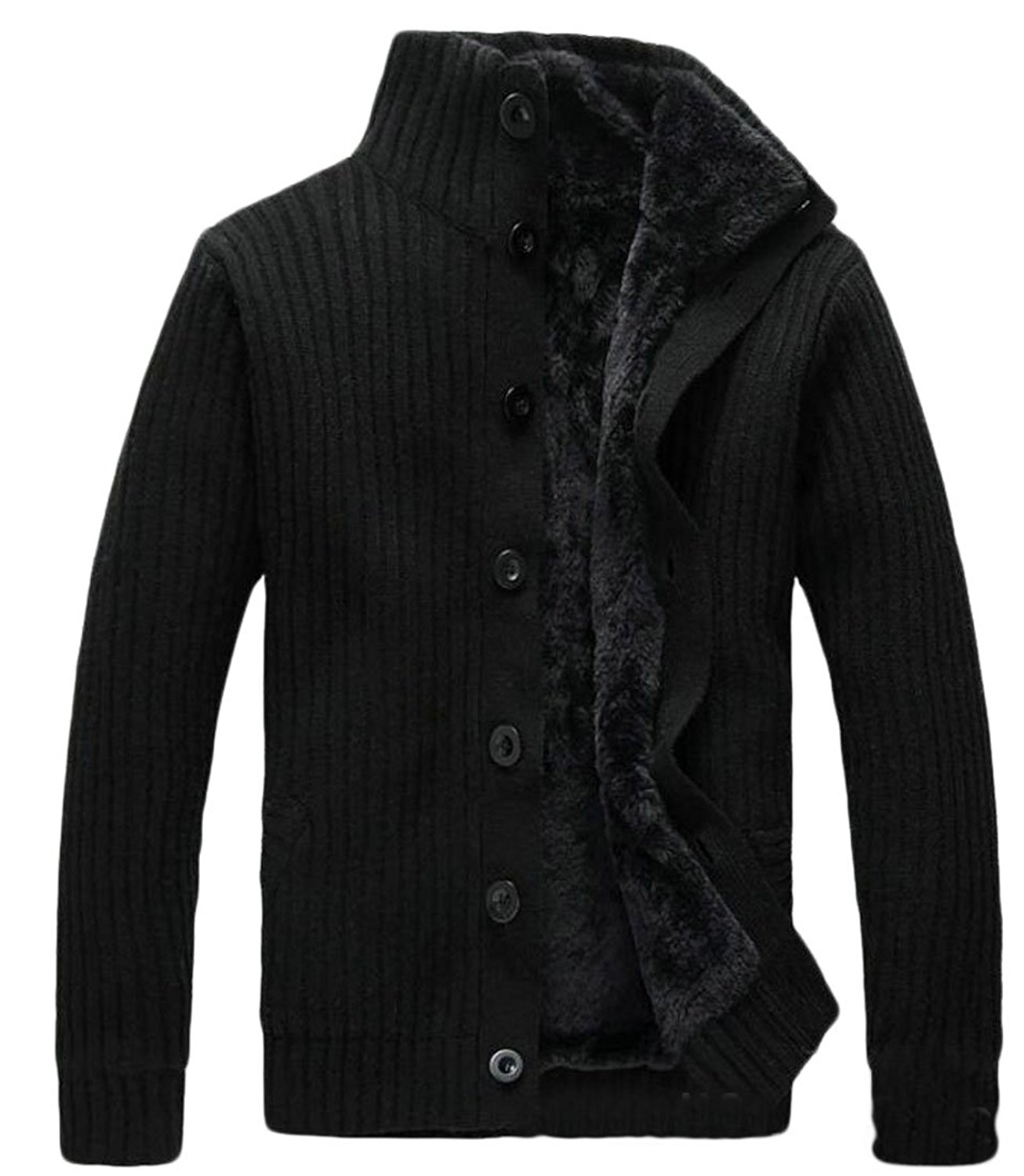 Gnao Men Stylish Buttons Stand Collar Long Sleeve Knit Pullover Sweater