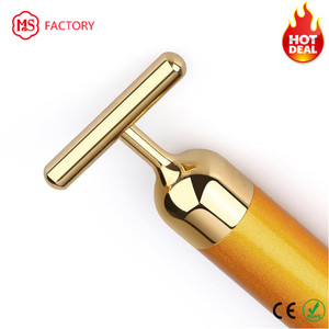 Factory wholesale massage roller bar 24k gold vibration facial beauty bar energy beauty bar