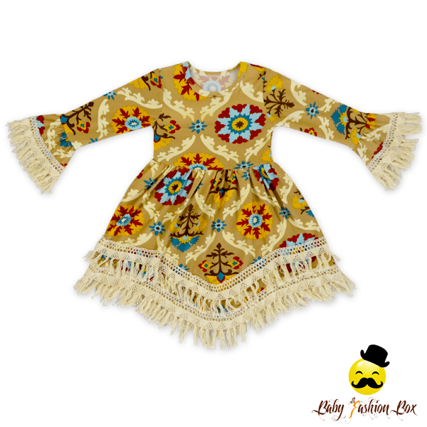 48BQA084 Yihong Long Sleeve Printed Flowers Tassel Toddler Girls Baby Woolen Frock Designs