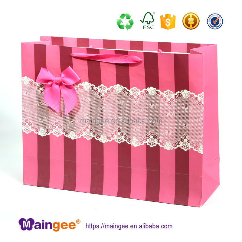 Recyclable Feature Paper material Handle,Ribbon,PP Rope Cotton Rope Sealing Handle customized wedding gift paper shopping bag