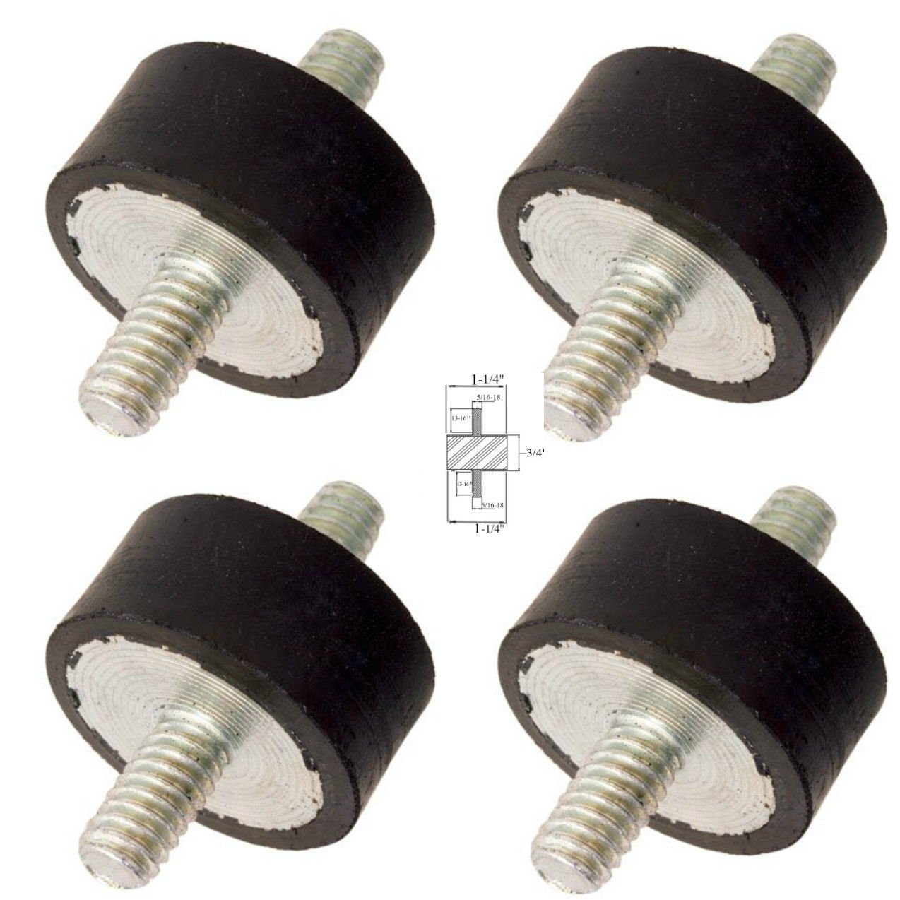 "Lot of (4) Rubber Anti Vibration Isolator Mounts Rubber Height 3/4"" x 1-1/4"" Rubber Diameter - Studs 5/16-18 x 13/16"" Length"