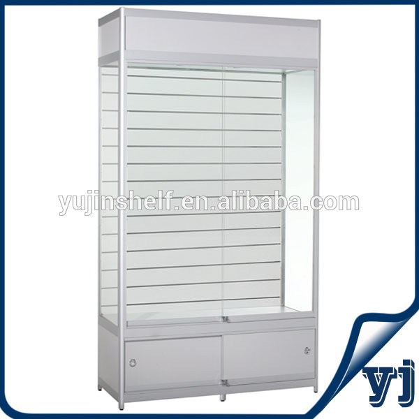 Lockable mobile accessories glass display showcase cabinet for Cheap white cabinets sale