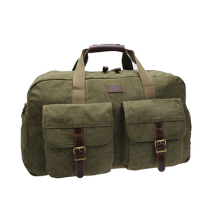 men's durable vintage canvas travel messenger bag, male handbag with genuine leather