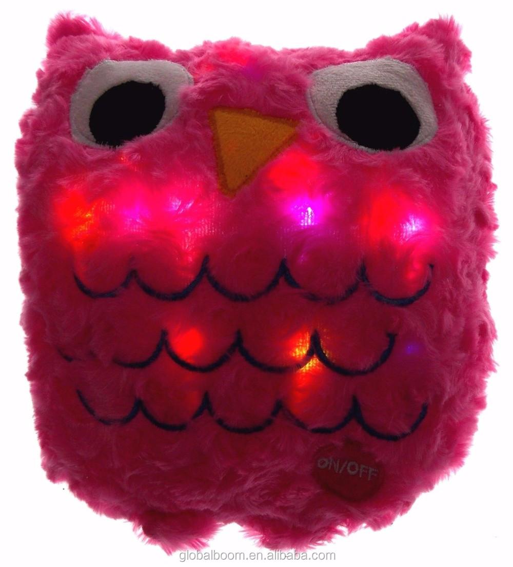 Led Light Up Pink Owl Pillow Multi Color Flash Plush 16 ...