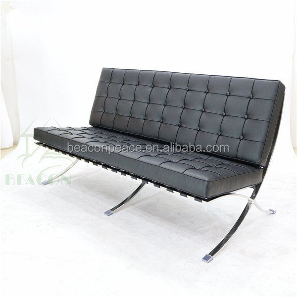 Office leisure used leather barcelona chair and ottoman