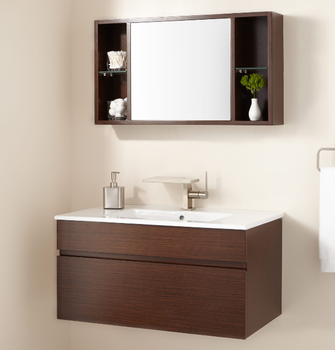 Small Design Bathroom Vanity Cabinet With Wall Hung Mirror Shelf Product On