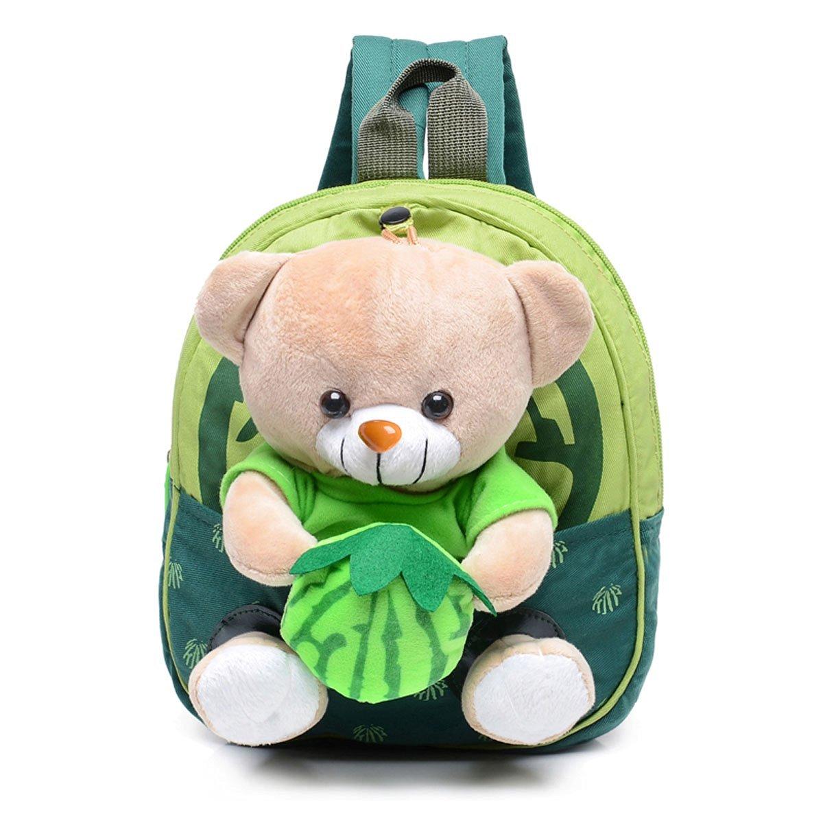 Sunny World Adorable Bear Fruit Cartoon Schoolbag Nursery Small Backpack Rucksack Bag for Kindergarten Baby Kids Child (1-4yrs) (Green)