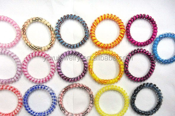 H628 019 Swirly Radom Color Delivery Telephone Line Elastic Plastic Cord Head Strong
