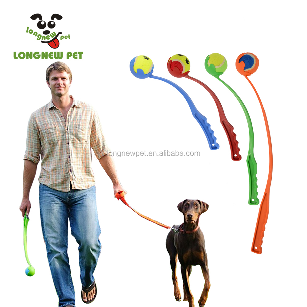 Amazon Hot Dog Toy Launchers Tennis Ball Toy Long Plastic Handle Throw Dog Playing Ball 2.5 inch