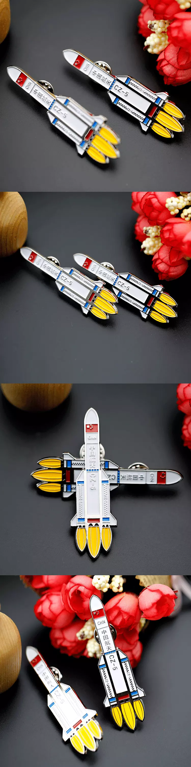 High-end custom  High quality customize silver soft enamel Space rocket lapel pin