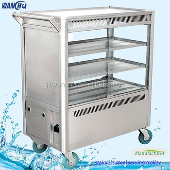 Superieur Electric Snack Trolley,Stainless Steel Mobile Food Cart,Dining Room Serving  Carts With Wheels