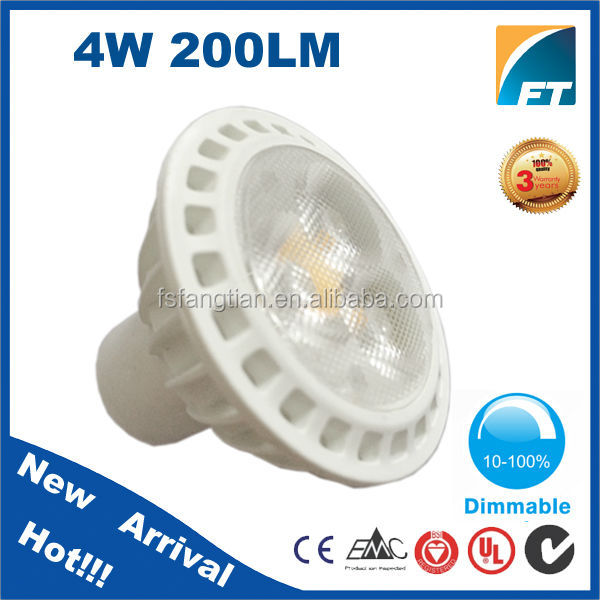 Dimmable Epistar LED Chip 4W 120V or 240V LED Gu10 MR16 COB Spot light lamp
