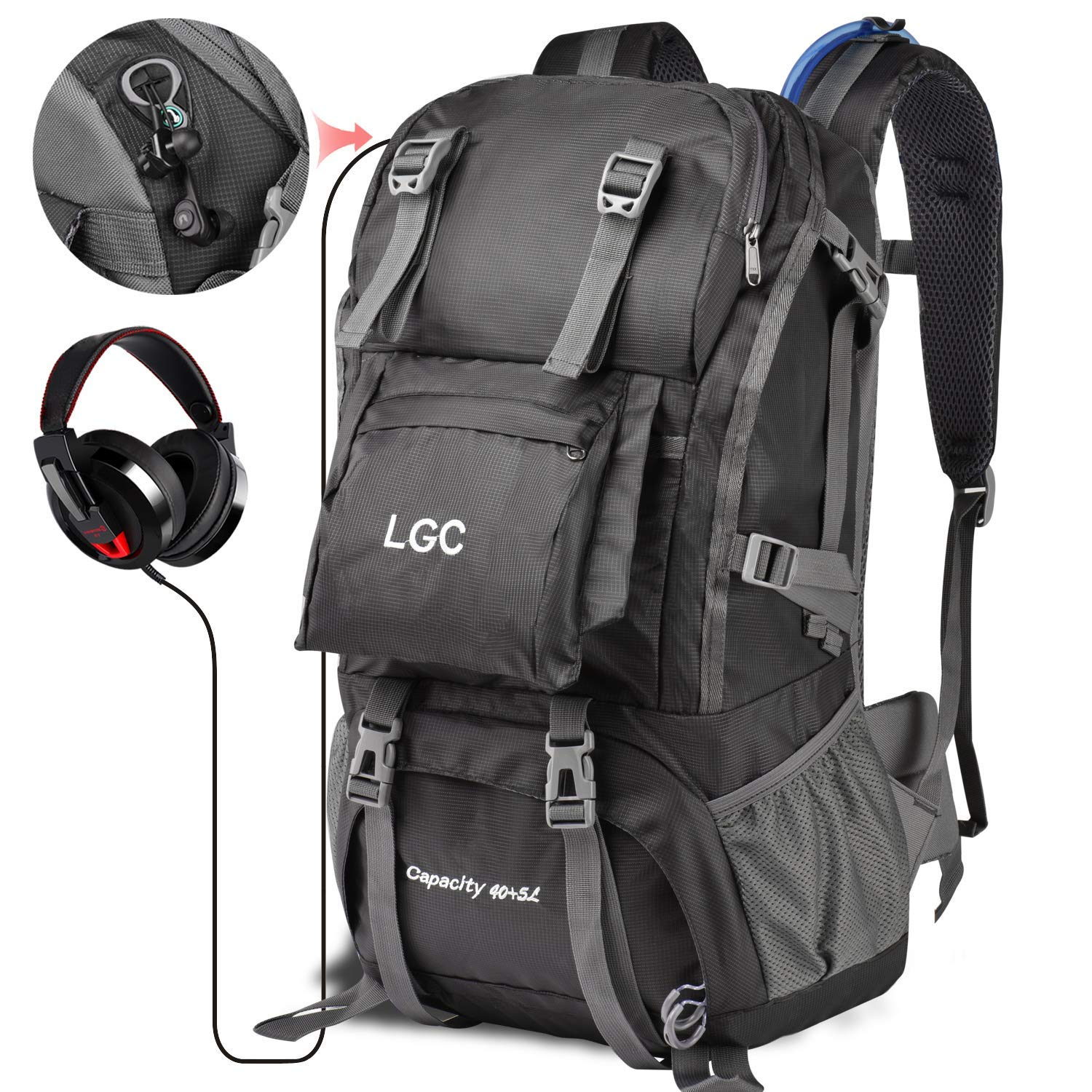 LGC Products Travel Backpack,40L Waterproof Hiking Backpack for Men & Women,Camping Backpack with Headphone Interface & Rain Cover for Hiking,Traveling & Camping