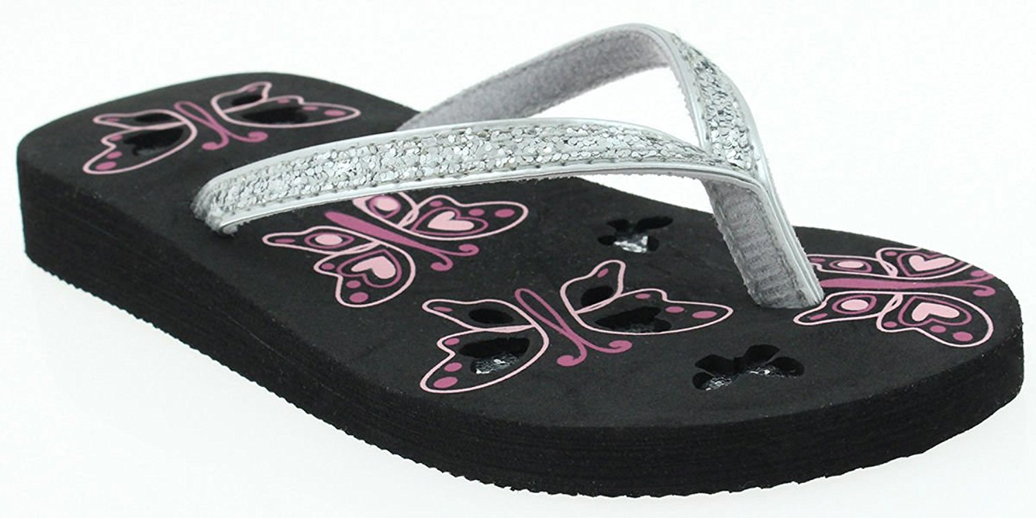 9c1d46ced56453 Get Quotations · Capelli New York Girls Crunchy Glitter Thong Fashion Flip  Flops With Sparkly Butterflies
