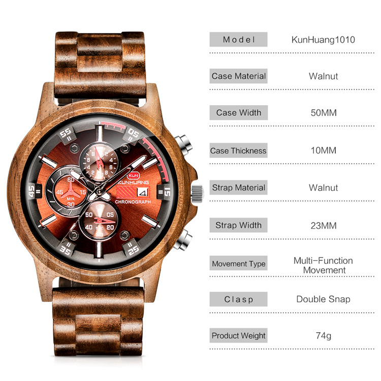 Most Popular Products Low MOQ KUNHUANG Wood Watches Men Custom Logo Wristwatch
