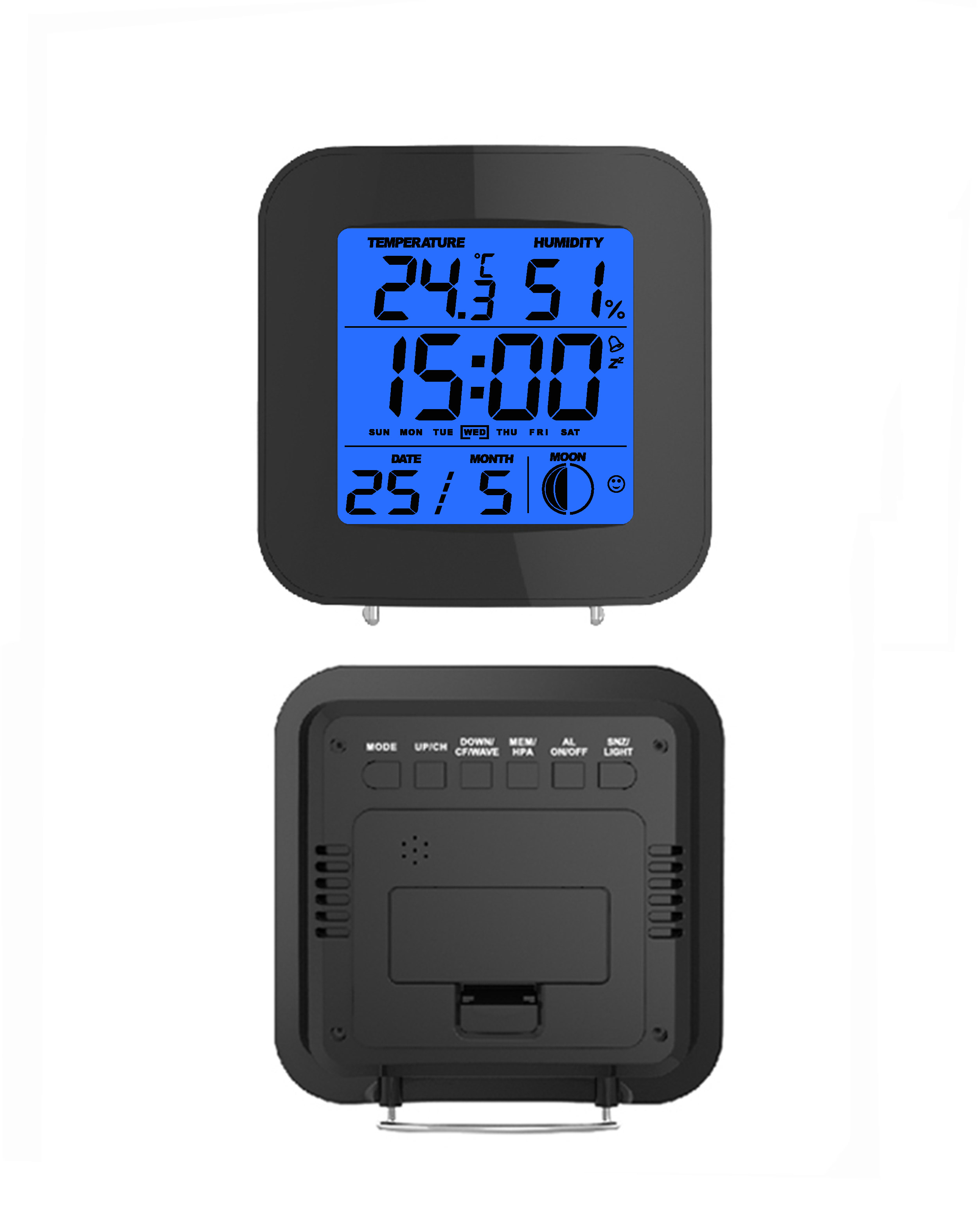 Simple radio controlled digital alarm clock with weather forecast, temperature and humidity
