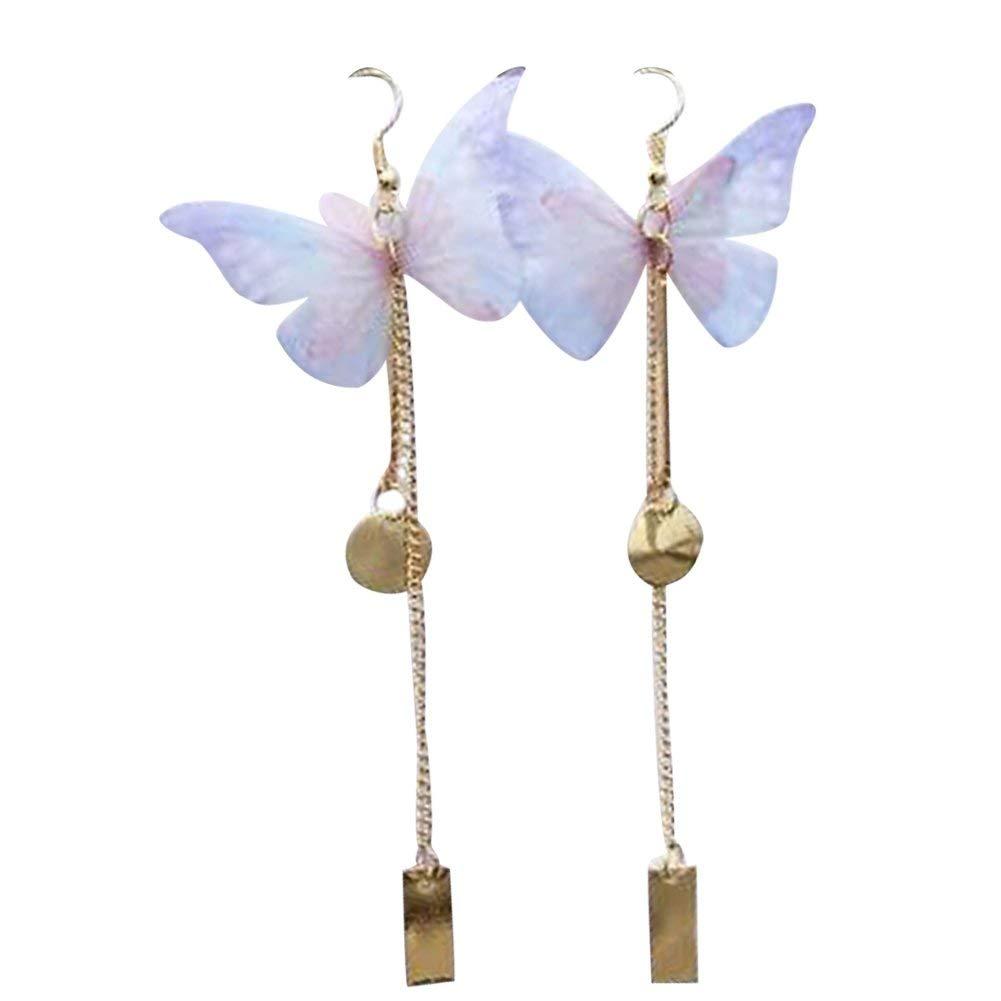 e623b7da8 Get Quotations · mnefel 3D Butterfly Wing Dangle Earrings Long Drop Earrings  for Women Girls