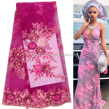Queency African Wedding Dress Style Nigerian Lace Tulle Fabric With Stones Embroidery New Fashion