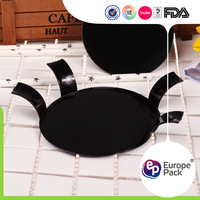 Serving ps material disposable black plastic cake plate with cover