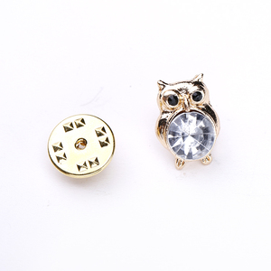 Charm jewelry gold owl crystal metal brooch pin