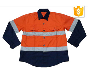 High visibility reflective EN471 poly/cotton breathable shirt&jacket style workwear working uniforms