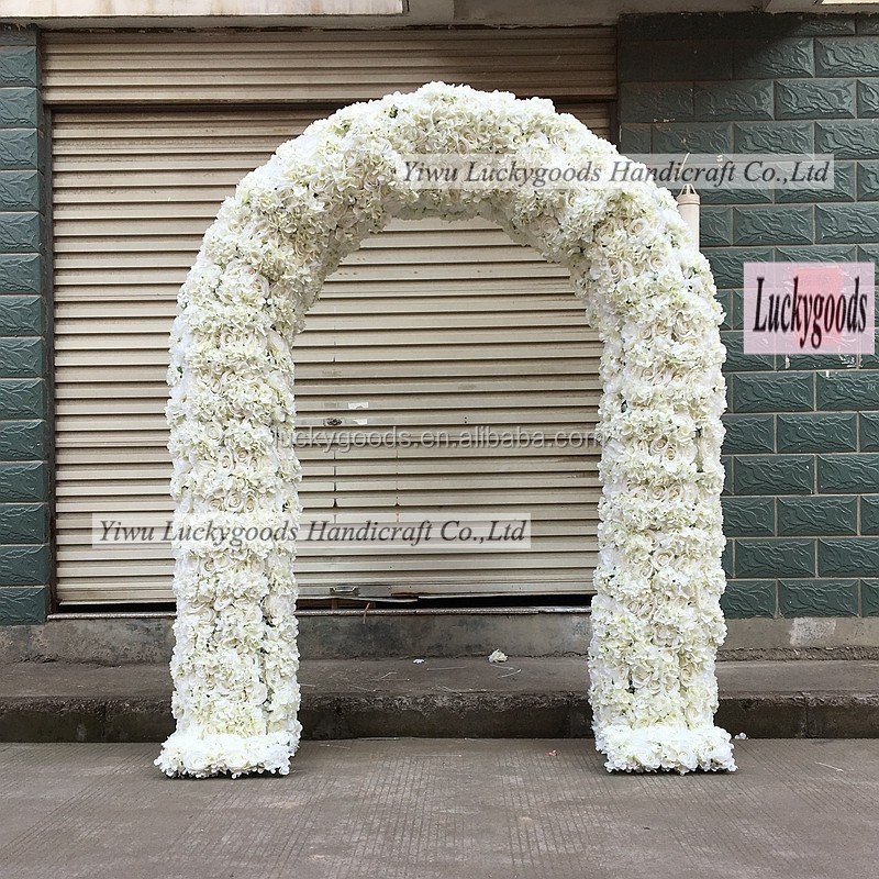 Wholesale White wedding flower arch with Rose for Wedding Stage Backdrop Decoration