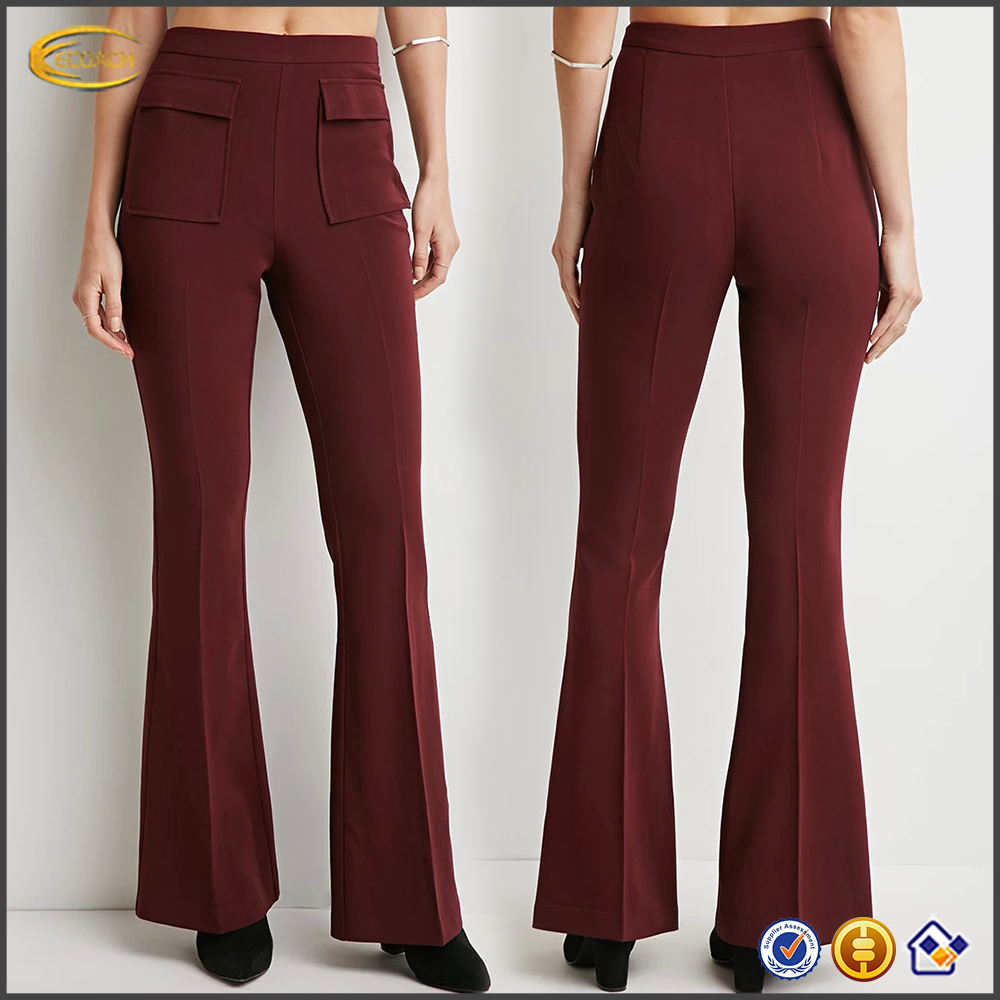 Ladies fashion Contemporary kint Flap-Pocket Flared Pants