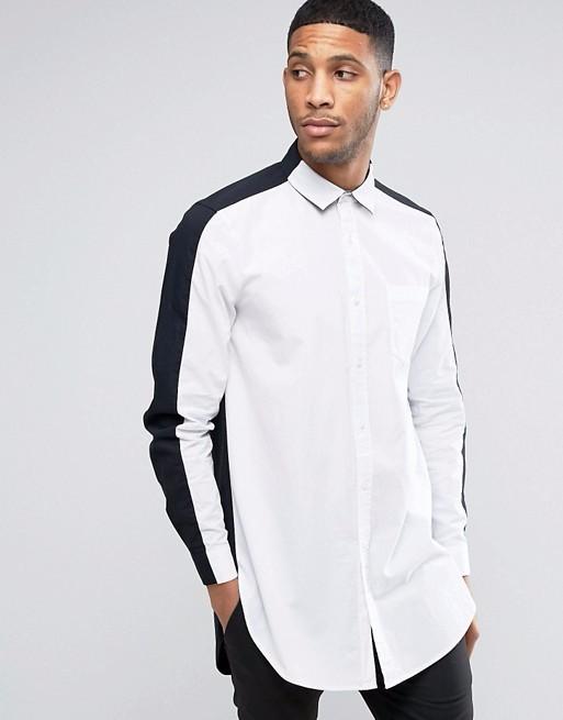 2d8c57d04f02 New design stylish shirts regular fit poplin super long shirt men in  monochrome
