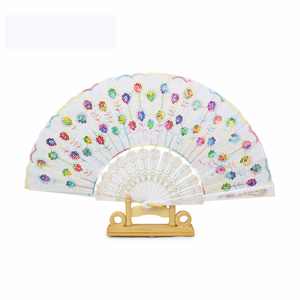 """Peacock"" Folding Hand Held Fans Bulk for Women(Mixed Colors, 8pcs)"