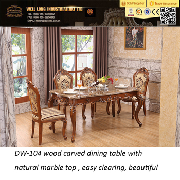 Classic Wood Carved Dining Table With Natural Marble Top