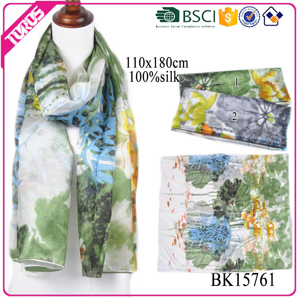 TOROS wholesale woman fashionable hand painted long printing 100 % silk scarf
