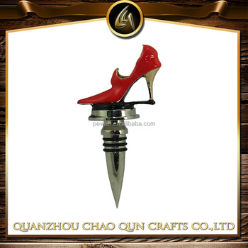 metal red high-heeled shoes wine bottle stopper