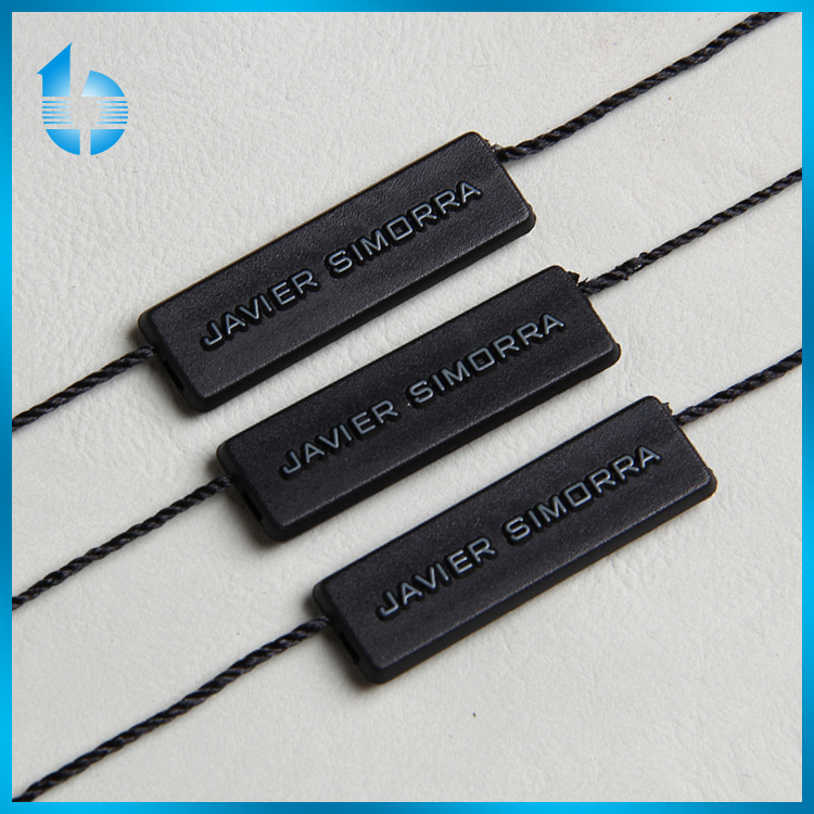 Manufacture plastic string tag with OEM service for Ultra suede garments