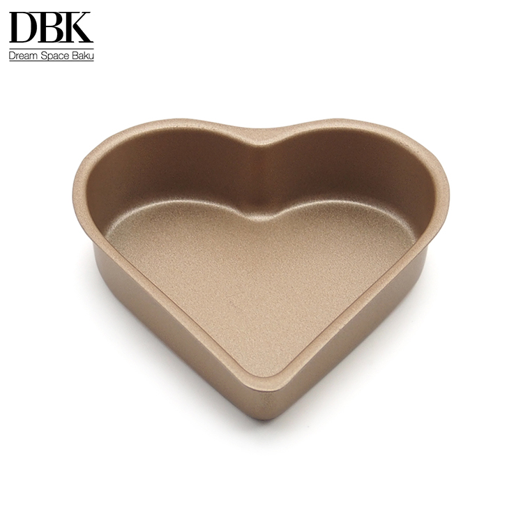 High quality Gold baking tray 3.5 inches Non-stick Heart Shaped Mini Cake Pan for Pies Cheesecakes Bread Jelly-roll Pudding