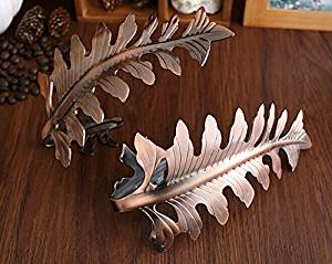 Decorative Modern Curtain Holdbacks / Tiebacks, Brass Leaf Design