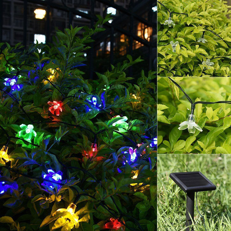 Flower String Lights Outdoor : Flower Shaped 50 Led Solar String Lights For Outdoor Use Best Decorative Outside Party Lighting ...