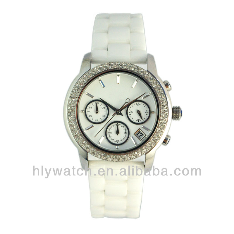 2014 Trendy Top Class Diamond Studded Citizen Movement Small Dials Sapphire Crystal Ceramic Lady Watch
