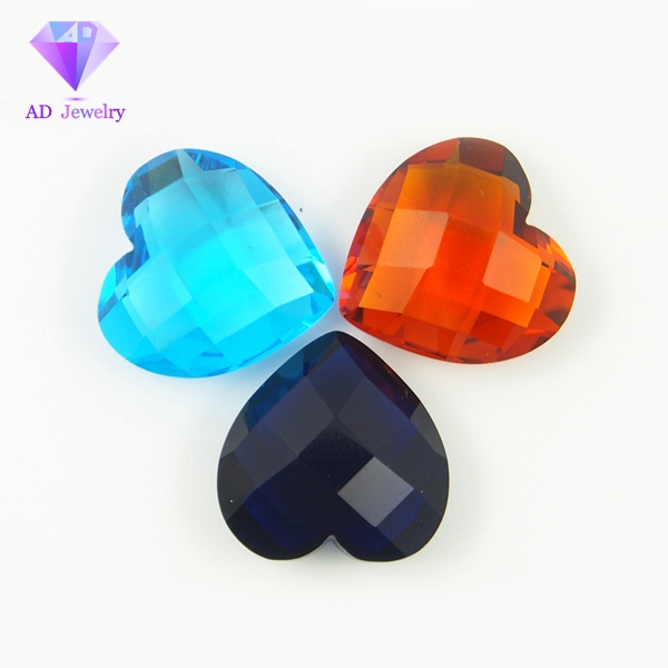 Double checkerboard cut heart shape crystal glass gems
