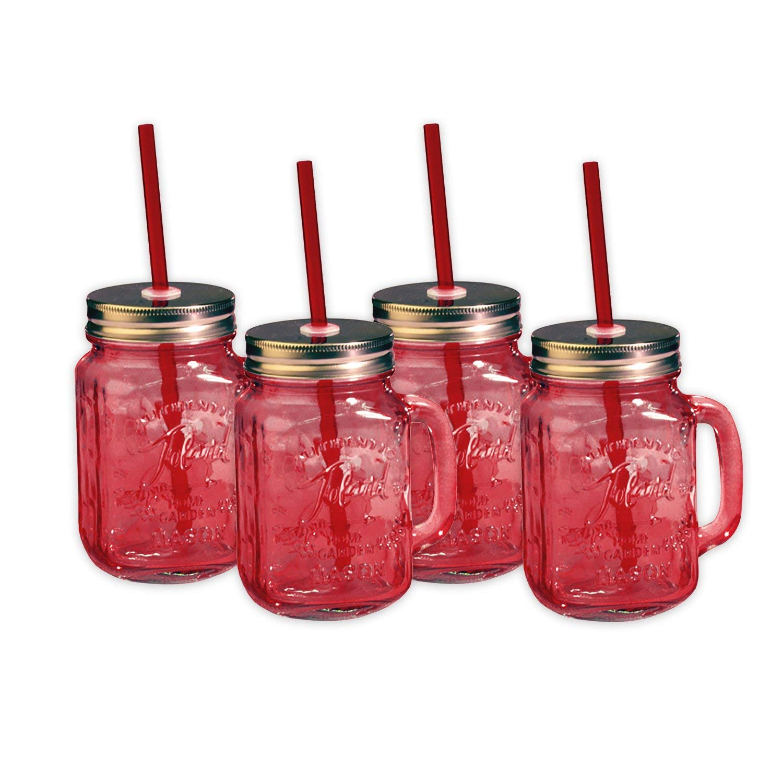 Toland Home Garden Mason Jar 16 oz Mug (Set of 4), Red, 1 pint