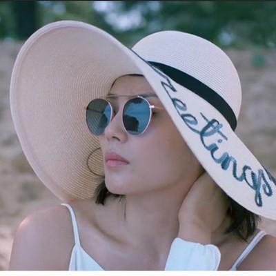 2018 carta bordado cap Grandes Senhoras brim verão chapéu de palha  juventude chapéus para as mulheres Sombra chapéus de sol chapéu de Praia  venda a2fcb24b780