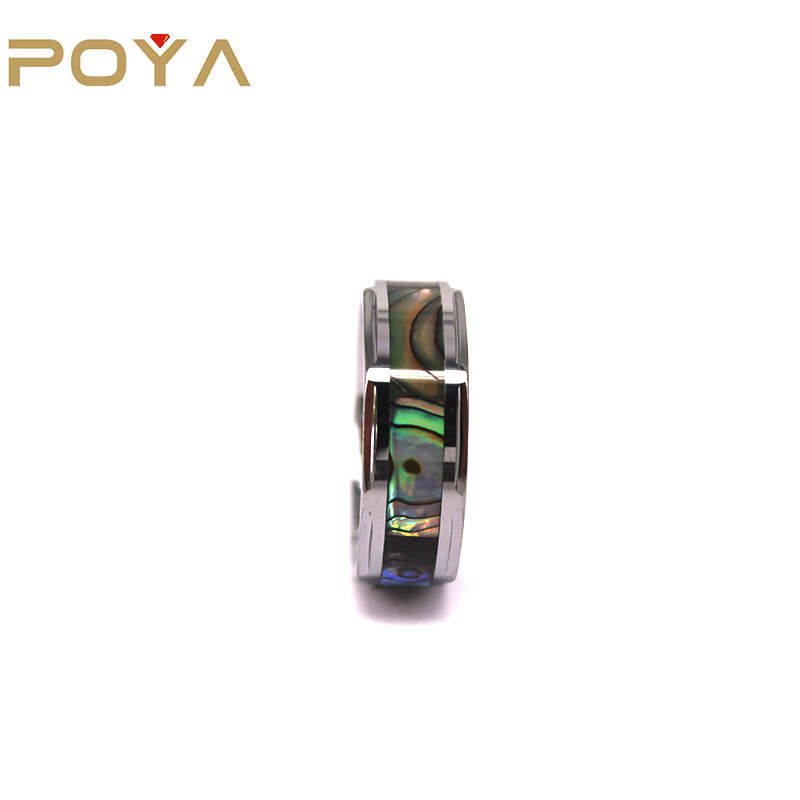 POYA Jewelry 8mm Tungsten Carbide Inlay Abalone Shell Step Edge Comfort Fit Ring