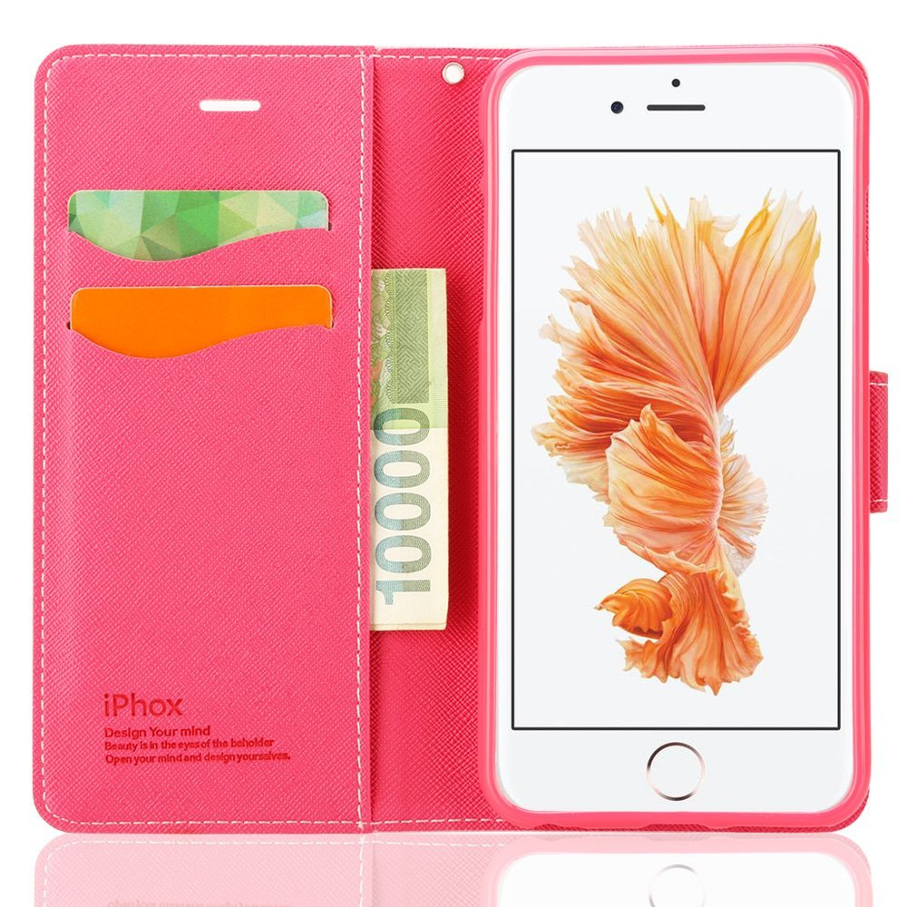 iPhone 6 case, iPhone 6s Case Souldio™ High Quality Cross Pattern Leather Flip Cover Wallet Protective Case for iPhone 6s/iPhone 6(4.7 inch) with Card Holder and Fodable Kickstand(Pink+Rose)