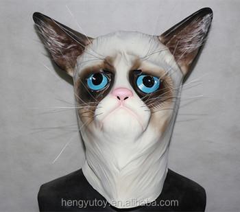 Novelty Fancy Dress Costume Latex Grumpy Cat Head Mask Popular Cat Mask & Notice! Novelty Fancy Dress Costume Latex Grumpy Cat Head Mask ...