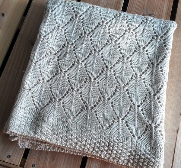 50db39 Cotton Knit Blanket Leaf Jacquard With Ladder Knit Edge ...