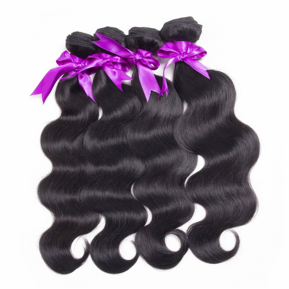 "8A Virgin Peruvian Body Wave Hair 4 Bundles 10""10""12""12"" Natural Color Peruvian Body Wave Human Hair Extensions 8-28"" Brazilian/Malaysian Body Wave Hair In Stock"