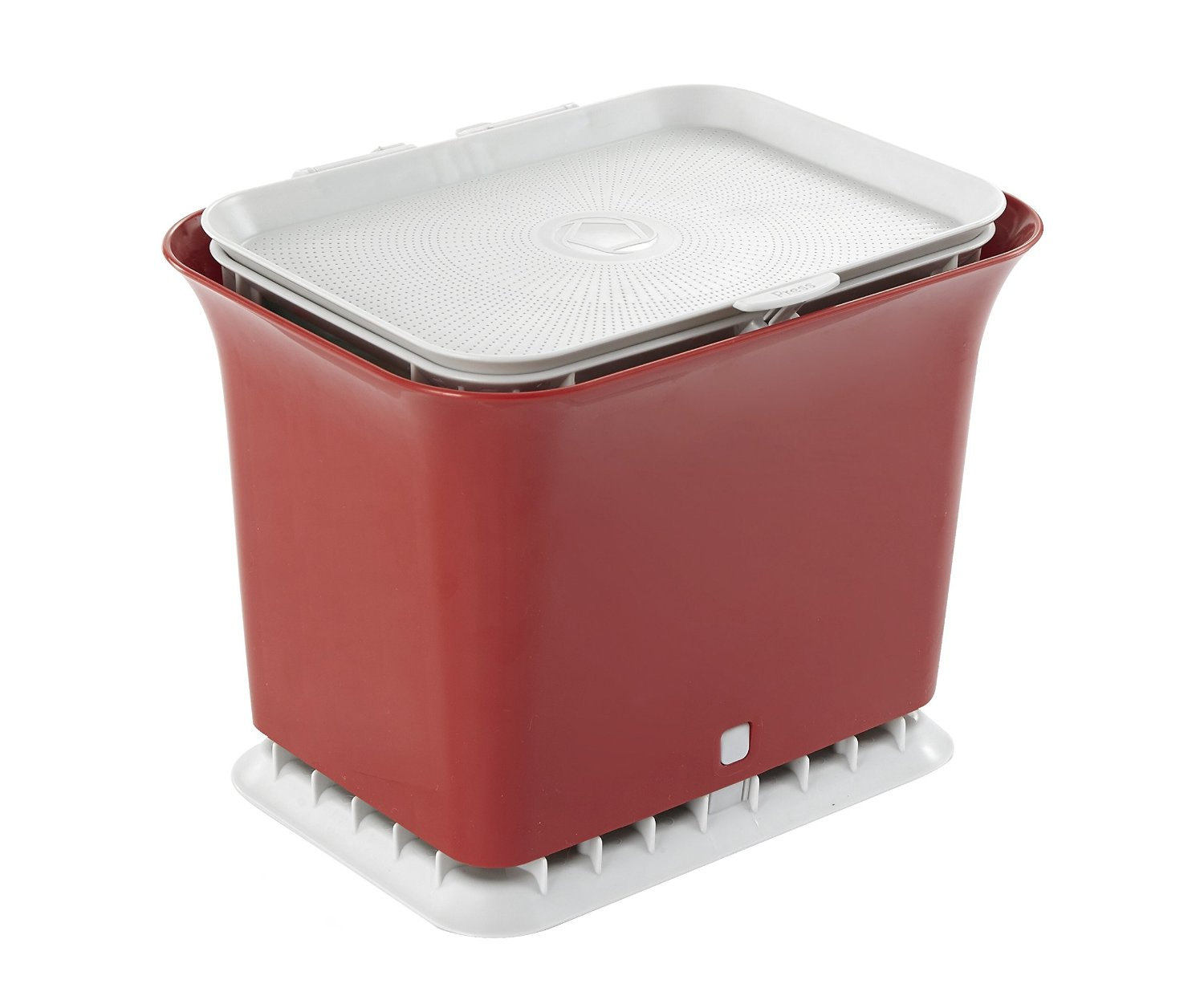 Full Circle Fresh Air odor-free kitchen compost collector, Ruby Red